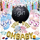 Minterest Baby Gender Reveal Party Supplies 135 Pcs Gender Reveal Decoration Set with 36'' Black Gender Reveal Balloons, Boy or Girl Banner, Mylar Balloons, Confetti Balloons, Paper Tassels, Photo Booth Props and Cupcake Toppers
