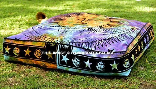 Sun & Moon Tie Dye Square Floor Pillow Large Ottoman Pouf Cover By ''Handicraft-Palace'' , Hippie Indian Seating Daybed Throw Sofa Cushion Cover Outdoor Dog Bed 35'' X 35''