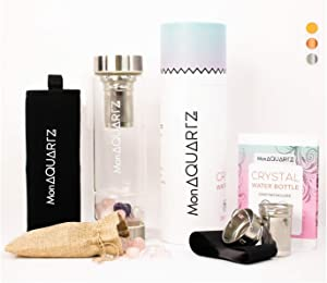 Crystal Water Bottles Rose Quartz I Infused Water Bottles for Women I Crystal Water Bottle Come in Rose Gold, Stainless Steel and Bamboo I Double Chamber Bottle Glass Large Crystals