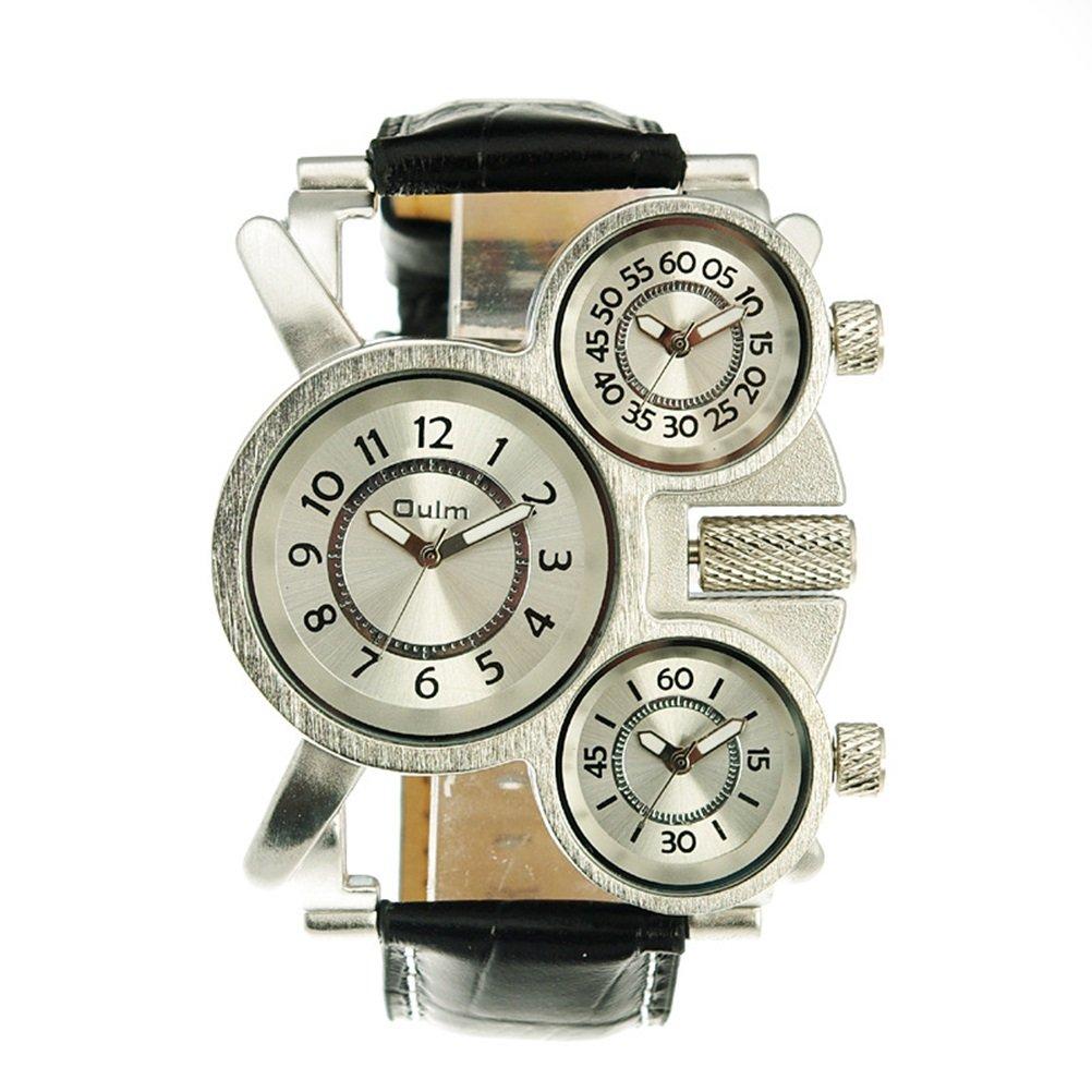 Oulm Three Time Display Quartz Mens Military Army Sport Wrist Watch