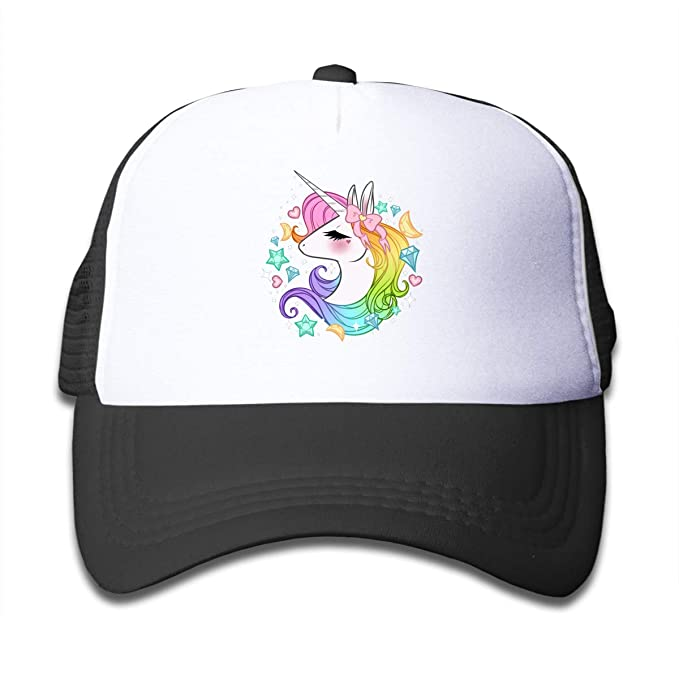 5380b163cfc709 Waldeal Cute Unicorns Kids Girls Mesh Caps Trucker Hats Adjustable Cap Black