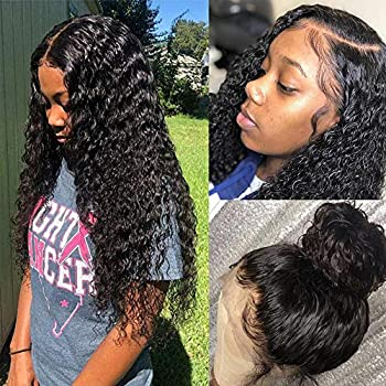Image of Health and Household Water Wave Lace Front Wigs With Baby Hair Glueless Brazilian Human Hair Wig for Black Women Remy Unprocessed Natural Ocean Wave Wigs 150 Density Wet and Wavy Pre Plucked with Bleach Knots 26 Inch