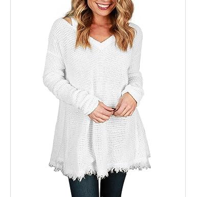 Deylaying Mujer Suéter Blusa Casual Prendas de punto V-cuello Manga larga Suéter camiseta Suelto Plus Size Suéter vestido: Amazon.es: Ropa y accesorios