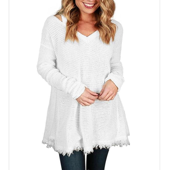 Deylaying Mujer Suéter Blusa Casual Prendas de punto V-cuello Manga larga Suéter camiseta Suelto