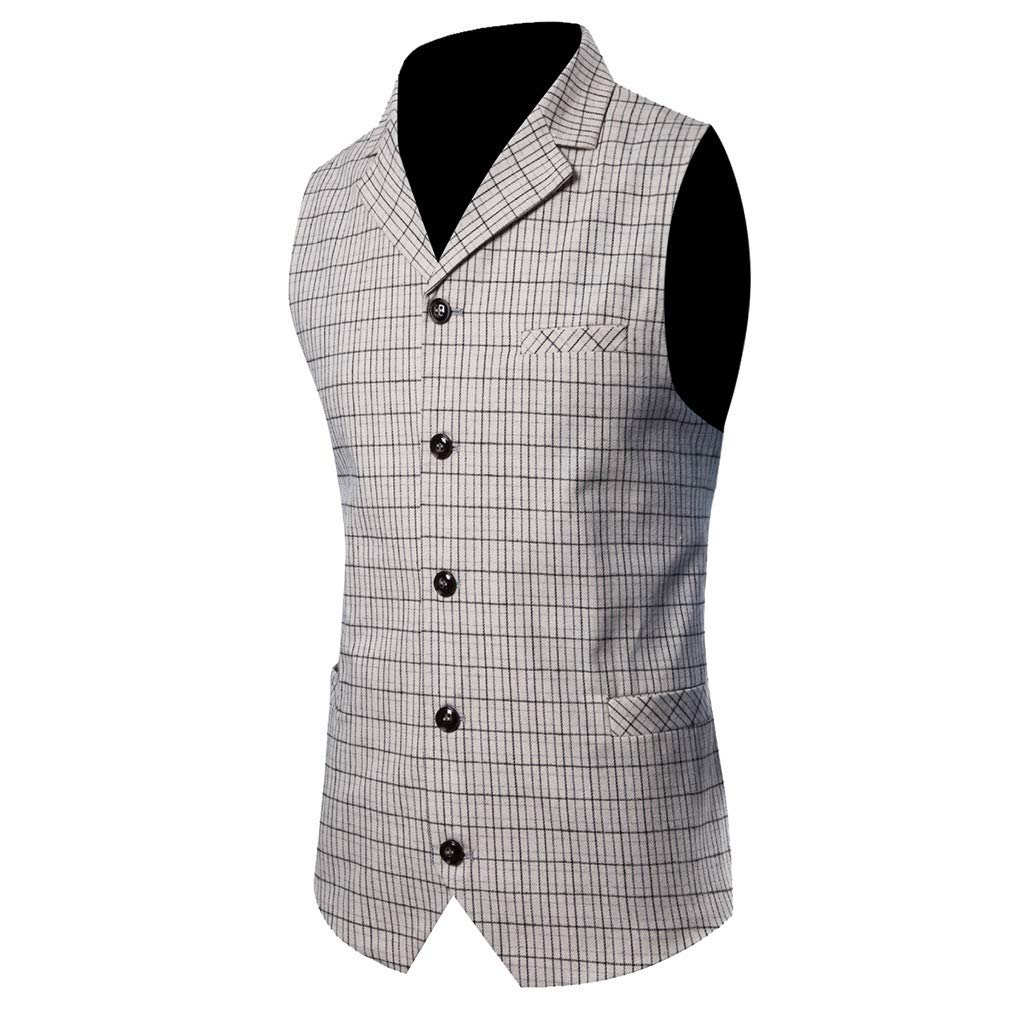 GREFER-Mens Waistcoat Vest Vintage Plaid Lapel 5 Buttons Jacket Single Breasted Suit Vests for Business Work