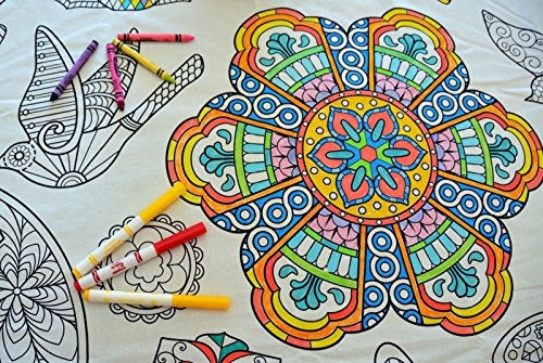 The Coloring Table - Colorable Mandala Tablecloth - Square