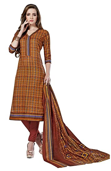 0cf81d7f25 PADMiNi Unstitched Printed Cotton Dress Material-Cotton Dupatta: Amazon.in:  Clothing & Accessories
