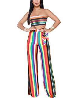 554be2e2df23 Women s Sexy 2 Piece Outfits Strapless Stripe Sleeveless Crop Top Wide Leg  Long Pants Set Jumpsuit
