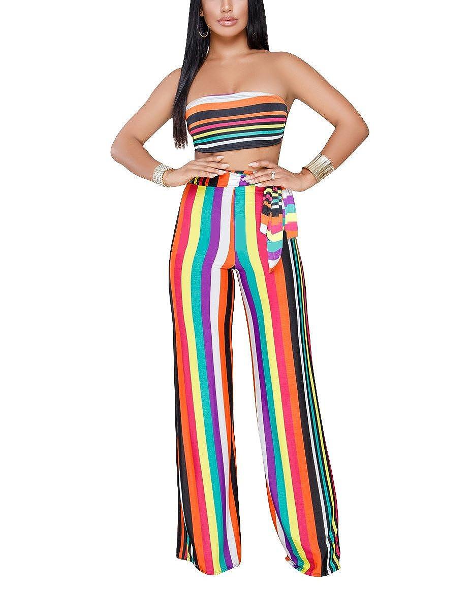 1d1b4a38621b Amazon.com  Women s Sexy 2 Piece Outfits Strapless Stripe Sleeveless Crop  Top Wide Leg Long Pants Set Jumpsuit Romper  Clothing