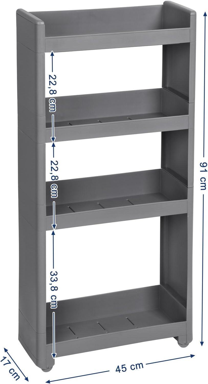 SONGMICS Nischenregal, rollbares Aufbewahrungsregal, schmaler Rollwagen,  20-stöckiges Kunststoffregal mit Rollen für Küche, Badezimmer, Grau 205 x 20  x