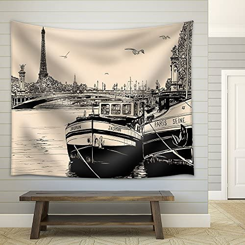 Vector Vector Illustration of a View of Seine River in Paris with Barges and Eiffel Tower Fabric Wall