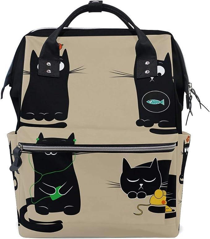 Mochila Divertida y Divertida con diseño de Gatos, Color Negro Puro, para la Escuela, de Gran Capacidad, para portátil, para Mujeres, Hombres, Adultos, Adolescentes y niños: Amazon.es: Equipaje