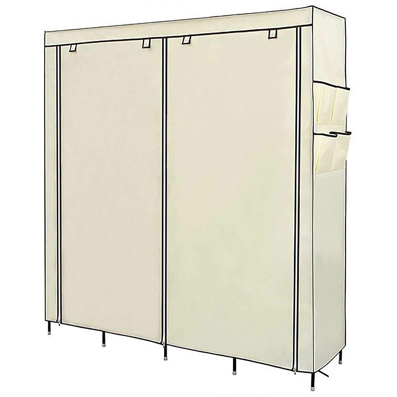 WIZED LOCASO Clothes Closet Portable Wardrobe Clothes Storage Rack 12 Shelves 4 Side Pockets