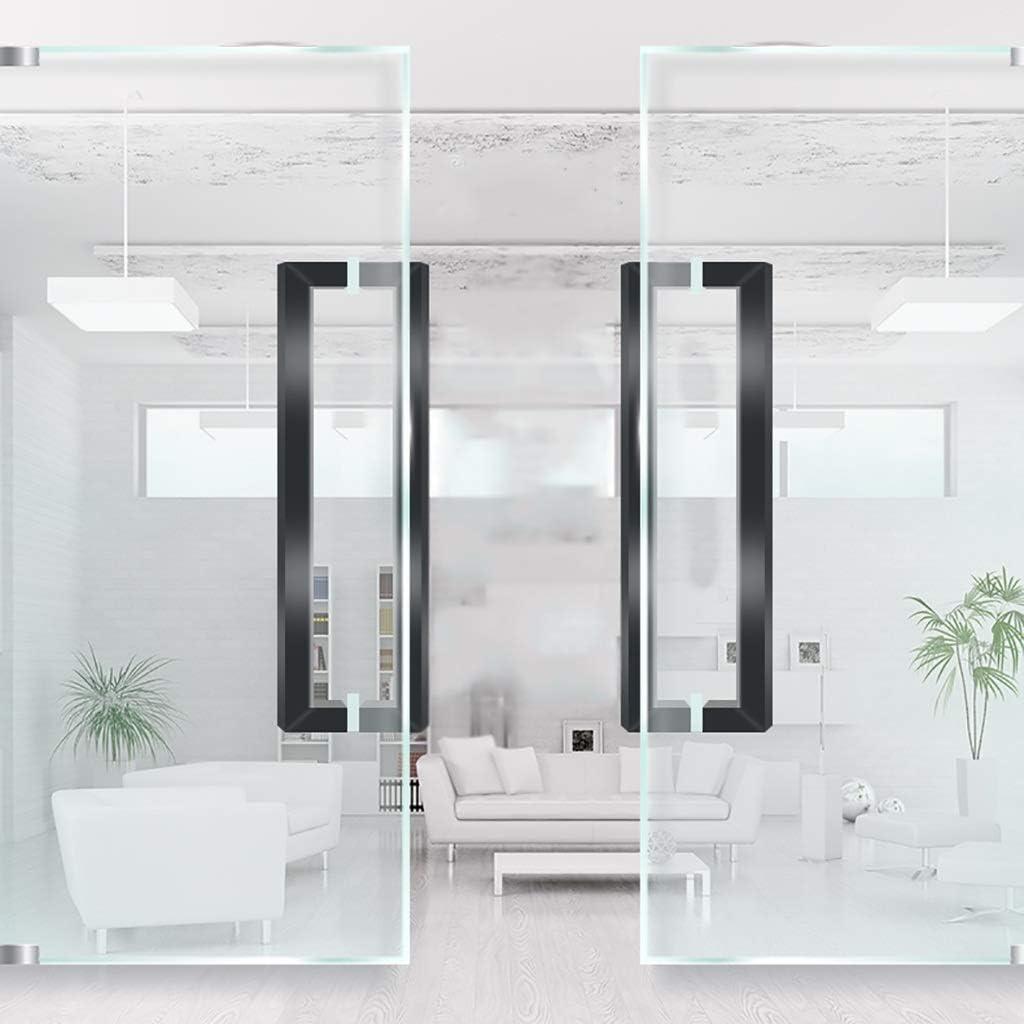 LHF Barandilla universal para escaleras interiores y exteriores, manija de puerta de vidrio, manija de puerta de acero inoxidable negra con tubo cuadrado comercial/manija de puerta de madera - 3 lo: Amazon.es: