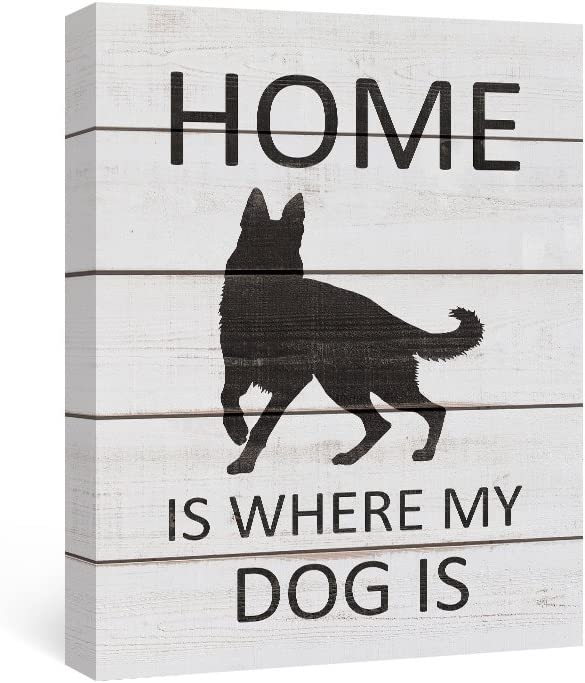 SUMGAR Modern Wall Art Front Door Decor Black and White Animal Canvas Paintings Gray Dog Pictures Grey Puppy Framed Artwork Quotes Sayings Prints Dorm German Shepherd Gifts,12x16 inch