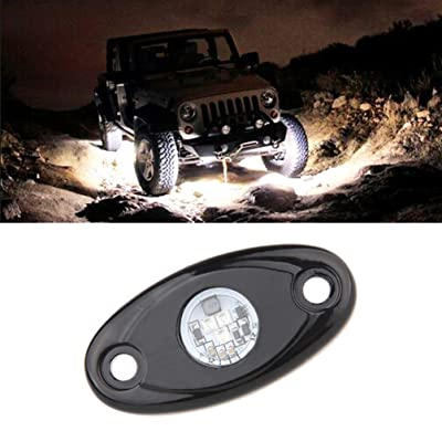 White LED Rock Light Kit Pod Lamp for JEEP Off Road Truck Car ATV SUV Motorcycle Under Body Glow Light Lamp Trail Fender Lighting: Automotive