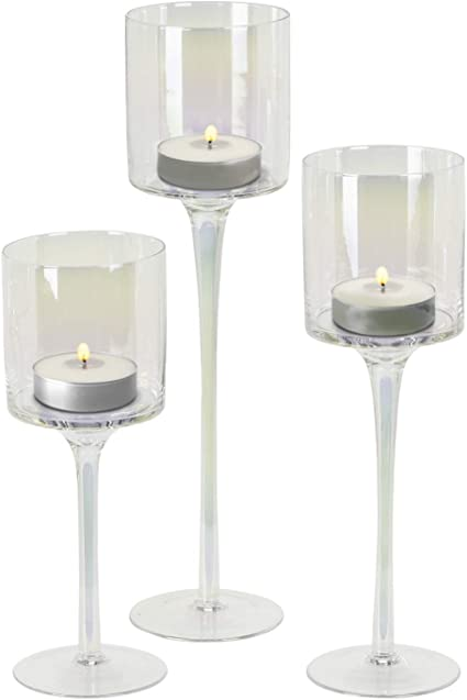 Guaranteed4less Tealight Candle Holders Set 3 Tall Gold Glass Large Wedding Party Centre Piece Amazon Co Uk Kitchen Home