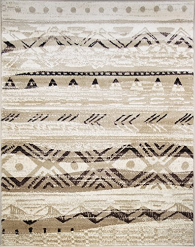 ADGO Atlantic Collection Modern Abstract Geometric Sand Wave Indian Soft Pile Contemporary Carpet Thick Plush Stain Fade Resistant Easy Clean Bedroom Living Dining Room Area Rug, Beige Brown, 5' x 7' ()