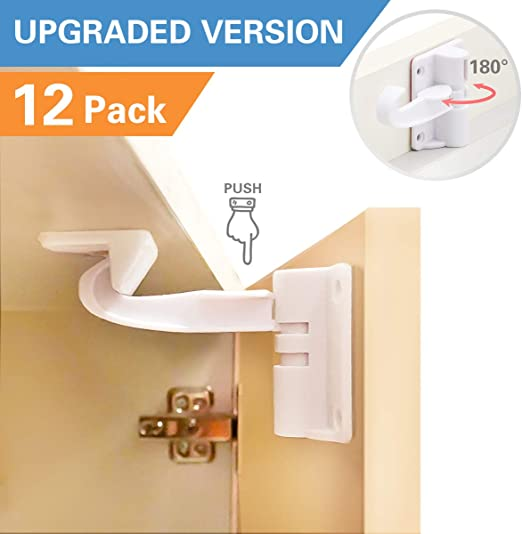 12 Pack Baby Proofing Cabinets Drawer Loc... Cabinet Locks Child Safety Latches