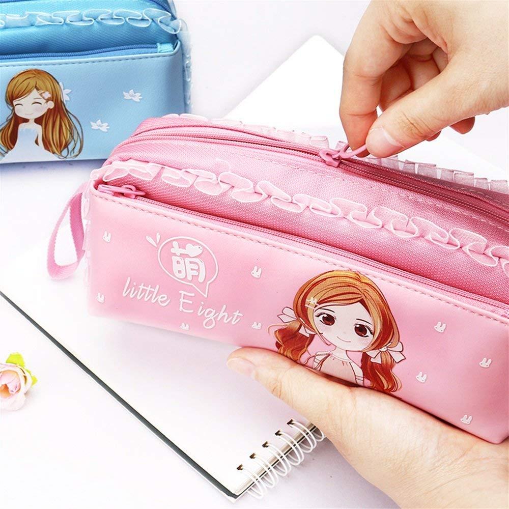 LANTA Home Estuches de lápices Cute Cartoon Pen Bag Estuche para lápices con Encaje Gran Capacidad de útiles de papelería para niñas-Rosa