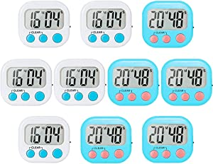 10 Pack Small Digital Timer for Kids Classroom Timers for Teacher Strong Magnetic Loud Alarm Minute Second Count Up Countdown White and Blue
