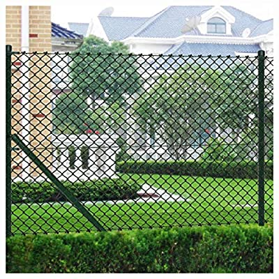 """K&A Company Fence Panel, Chain Link Fence with Posts Galvanised Steel 59.1"""" x 590.6"""" Green"""