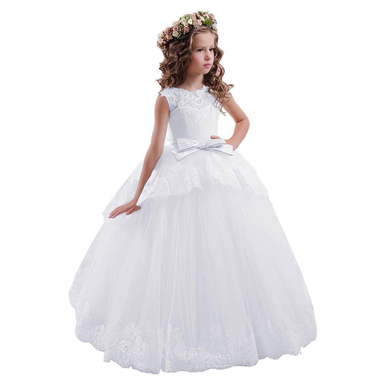 49d2b1d3 White Fancy Flower Girl Dresses