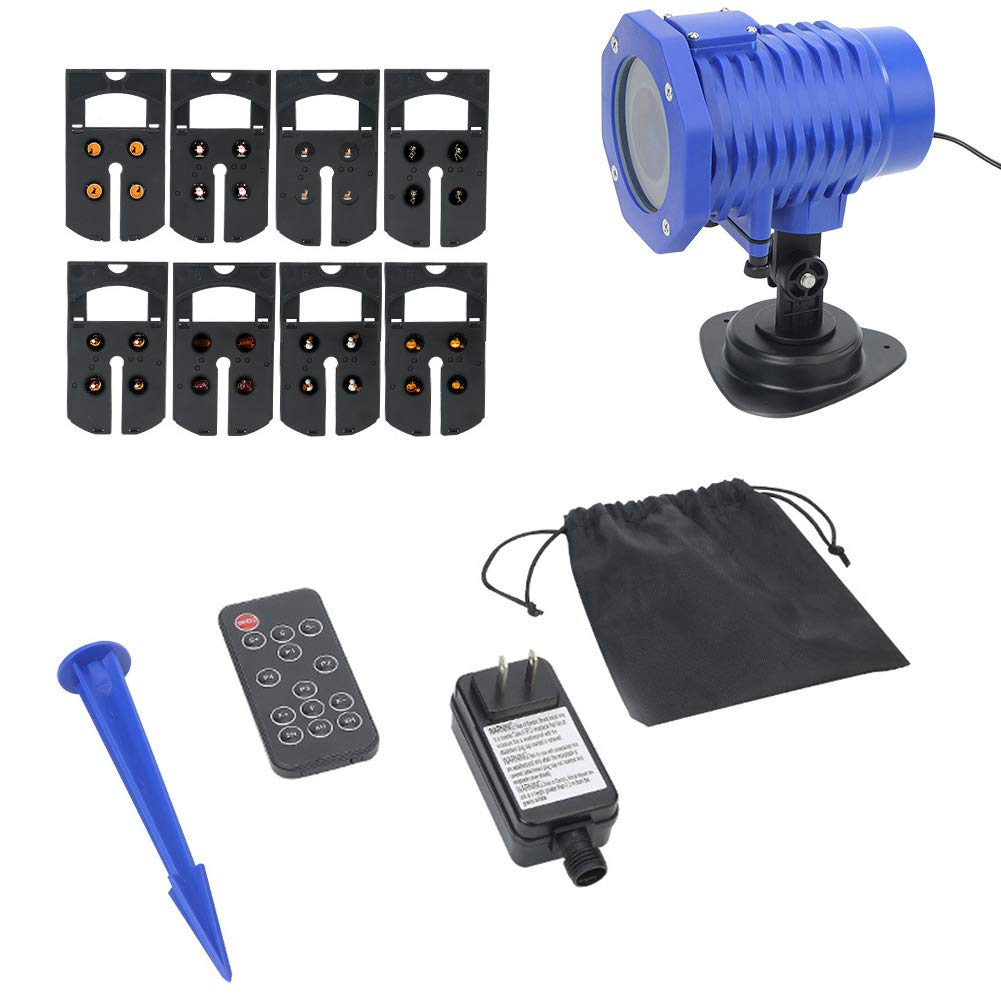 LED Projection Lamp Waterproof Wall Projection Window Protector with Remote Control 8 Pattern 270° Rotation Adjustable Length for Christmas Halloween Garden Dor(Blue)