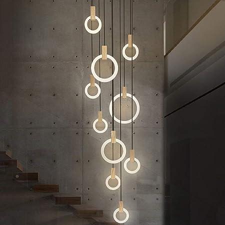 CCF Lámpara colgante LED Lámpara colgante Luz 142W 10-LED Lámpara colgante de anillo Lámpara colgante Escalera de madera y acrílico adecuada para recibidor, sala de estar, escalera giratoria, dormitor: Amazon.es: Hogar