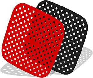 Reusable Air Fryer Liners 7.5 Inch Square Non-Stick Silicone Air Fryer Basket Mats   Air Fryer Accessories Compatible With Ninja, COSORI 3.4 & 3.7 QT, and MORE   BPA Free (2-Pack)