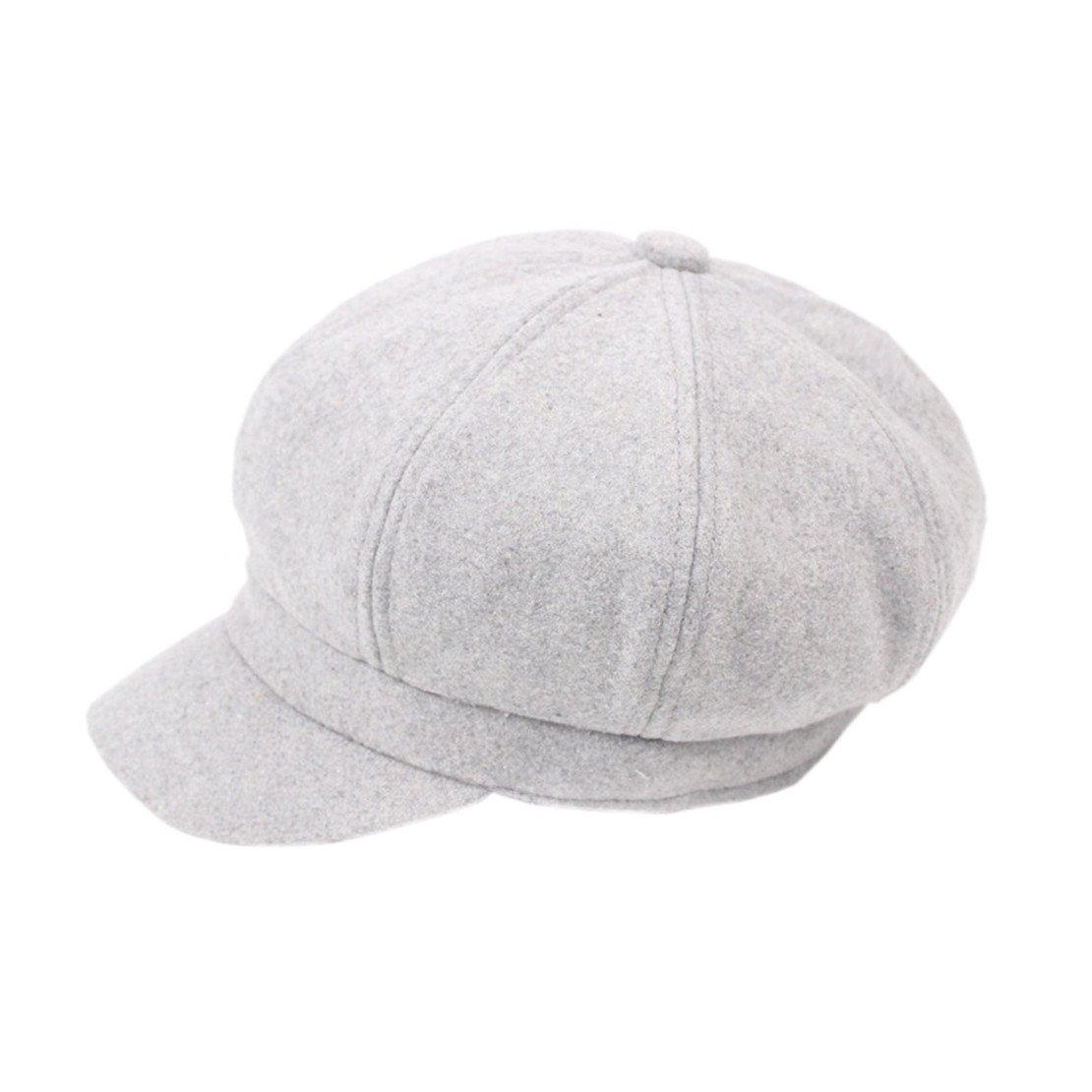 TM XueXian Womens Mens Wool Bakerboy Newsboy Hat Beret Solid Color