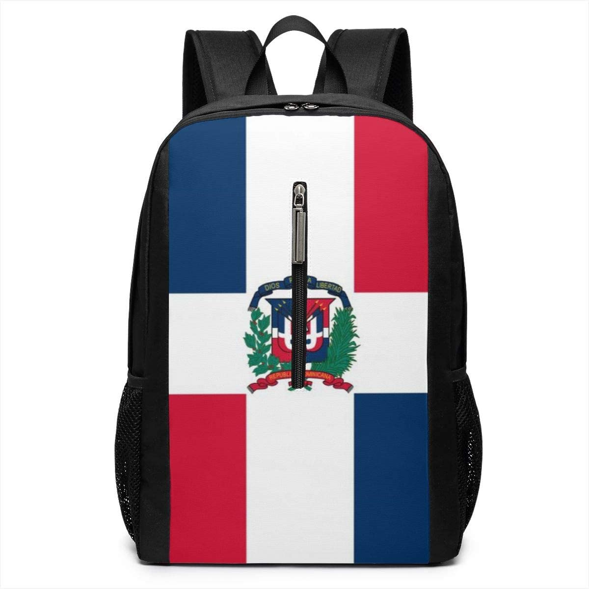 Casual Daypack for Women Men Travel School Backpacks Dominican Republic Flag Laptops Shoulder Bag College Notebook Computer Bags Multipurpose Sports Fitness Daypacks for Camping 17 Inch
