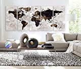 Original by BoxColors XLARGE 30''x 70'' 5 Panels 30''x14'' Ea Art Canvas Print Watercolor Map World Countries Cities Push Pin Travel Wall color Brown beige decor Home interior (framed 1.5'' depth)