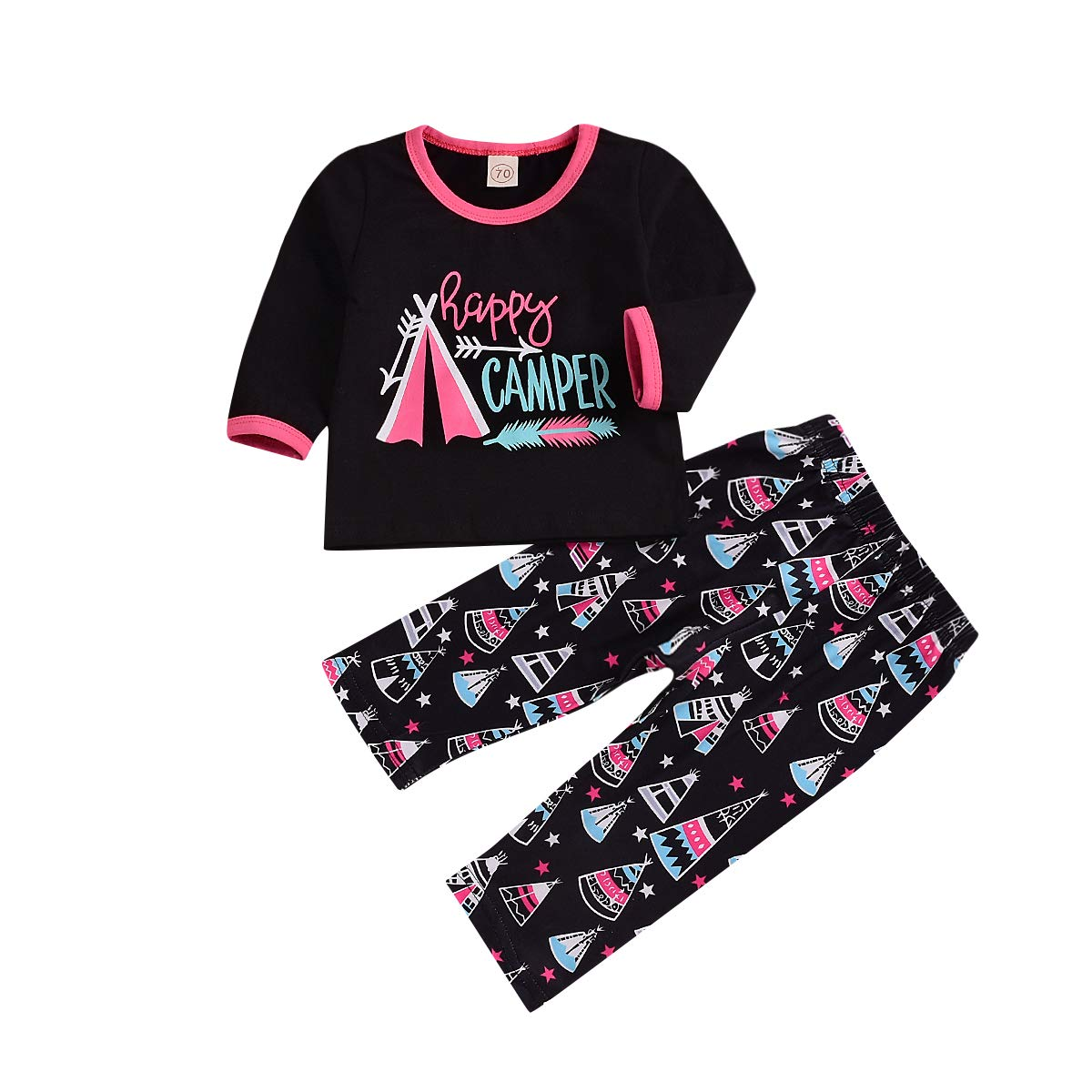 CAIBIET PANTS ユニセックスベビー 0 - 6 Months Kid Happy Camper Outfit B07H2ZBDJL