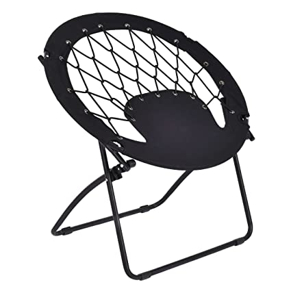 Fabulous Giantex Folding Bunjo Bungee Chair Outdoor Camping Gaming Hiking Garden Patio Round Web Portable Steel Bungee Dish Chairs For Adults Kids Black Gmtry Best Dining Table And Chair Ideas Images Gmtryco