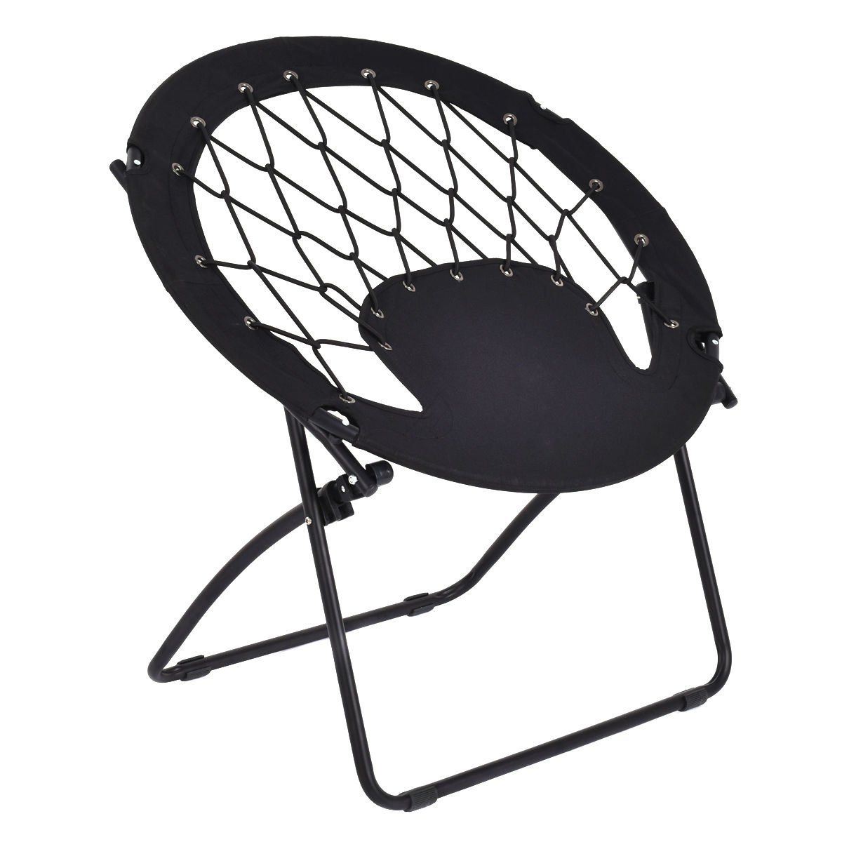 Giantex Folding Bunjo Bungee Chair Outdoor Camping Gaming Hiking Garden Patio Round Web Portable Steel Bungee Dish Chairs for Adults Kids, Black