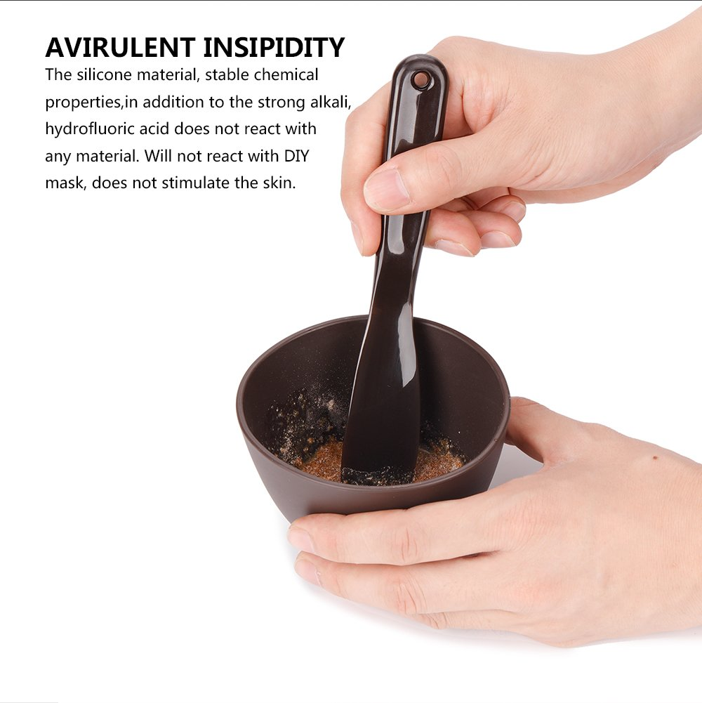 Beauty Artisan 4 In 1 Facial DIY Flexible Silicone Rubber Mask Bowl Brush  Spoon Tools Set (Coffee)