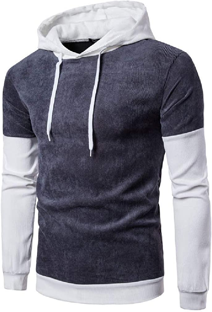 VITryst-Men Corduroy Hooded Long Sleeve Sporty Color Block Sweatshirt