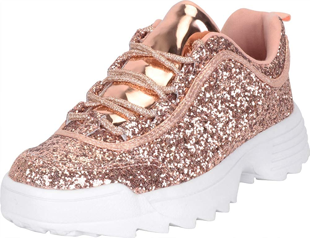pink gold Cambridge Select Women's Low Top 90s Ugly Dad Glitter Lace-Up Chunky Fashion Sneaker