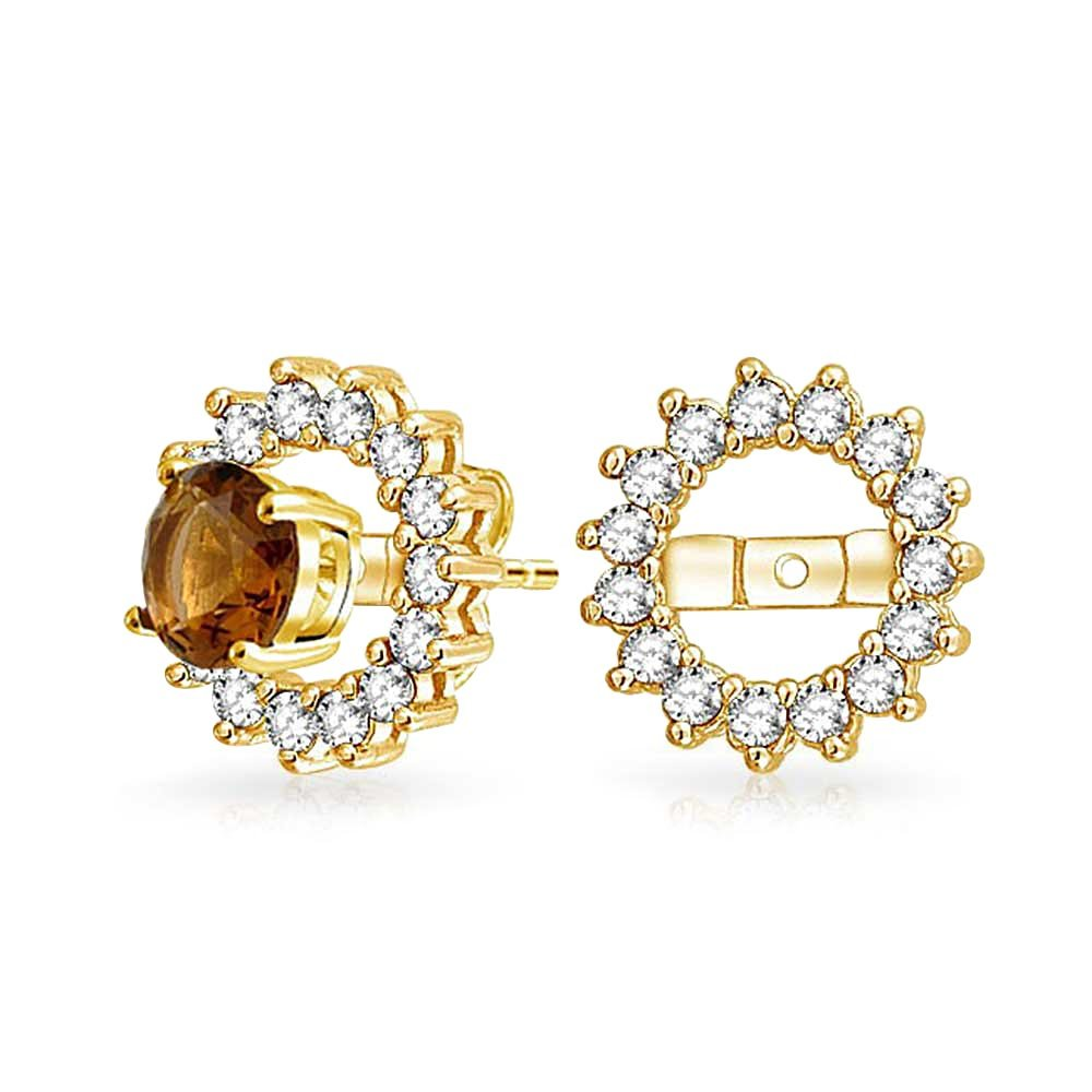 Bling Jewelry .925 Silver Gold Plated CZ Round Earring Jackets For Studs DT-EJ1410-YG