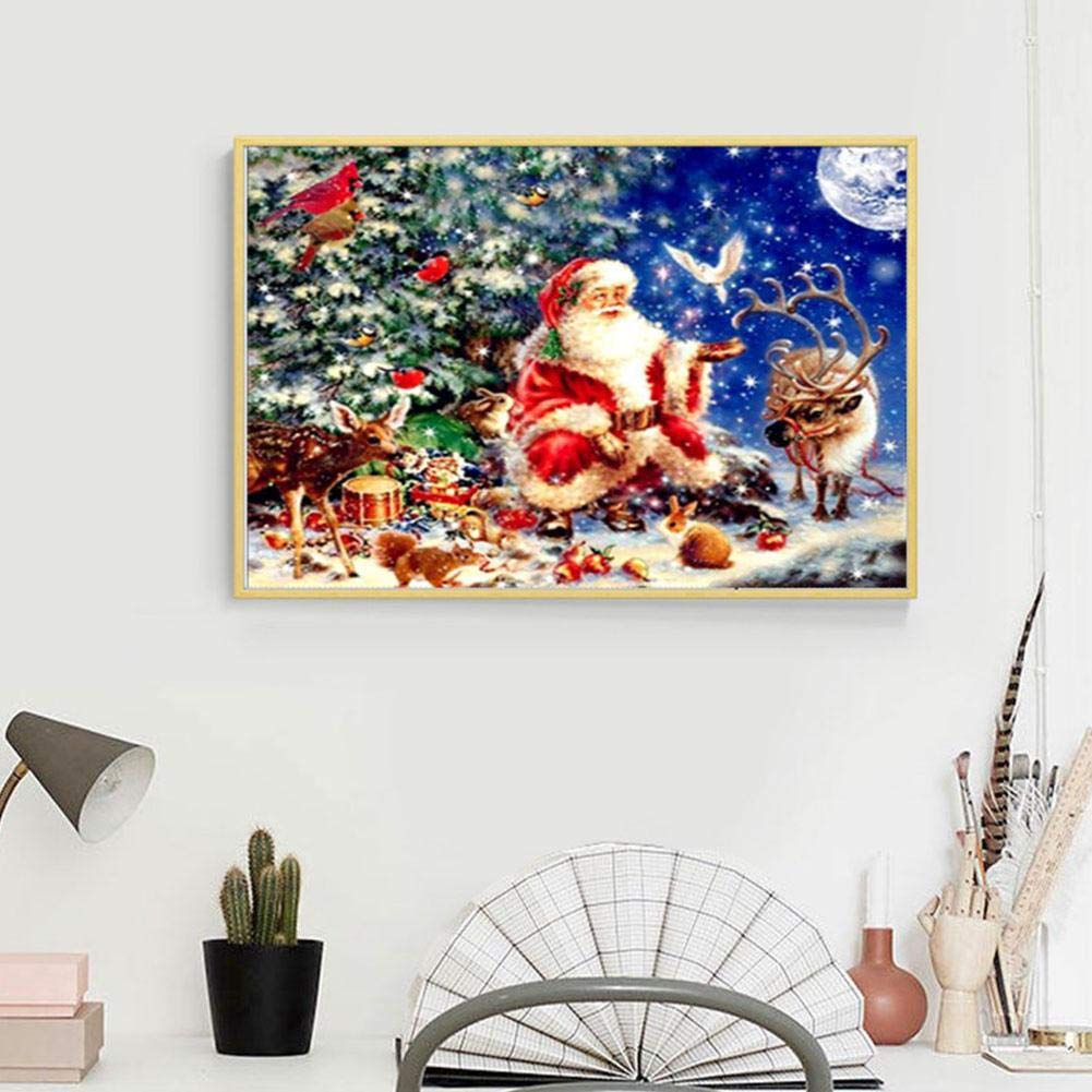 Christmas 5D DIY Diamond Painting Full Drill Round Resin Beads Pictures Santa Claus of Crystals Diamond Dotz Kits,Arts Crafts /& Sewing Cross Stitch for Christmas Home Decor 16X12inch//40X30CM