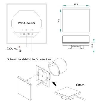 Wand Einbau Led Controller 12V 24V 8A Led Dimmer Touch Panel für LED Strips