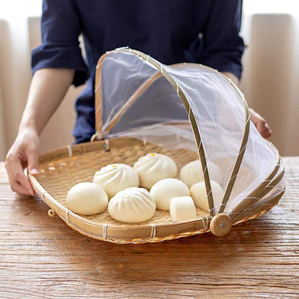 la nourriture servir des fruits légumes corbeille à pain couverture de protection de la tente antipoussière de stockage de pique-nique en maille tissée à la main avec moustiquaire plateau recouvert de iBasteFR