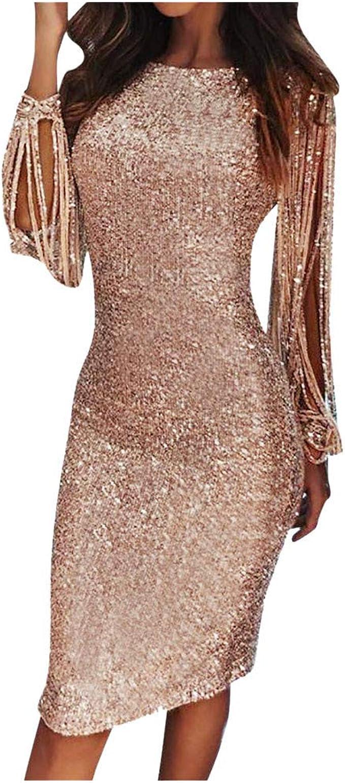 MRULIC Damen Paillettenkleid Einfarbig Abendkleid Cocktailkleider