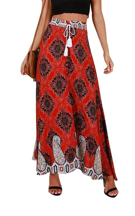 RUIGO Women's High-Waisted Boho Asymmetrical Hem Tie up Long Maxi Print Wrap Skirt (L, Yellow)