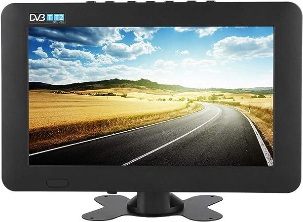 ASHATA Televisor Portátil,TV Digital Portátil,1080P Televisor DVB-T / T2 con Grande Pantalla LED,Pequeña Televisión para Interior y Exterior,para ...