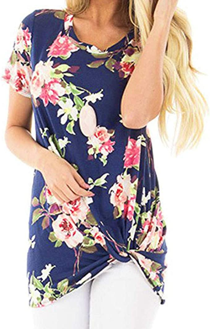Pandaie Womens Tops Shirts Elegant Plus Size Floral Print 3//4 Sleeve Cold Shoulder Casual Tops Camis