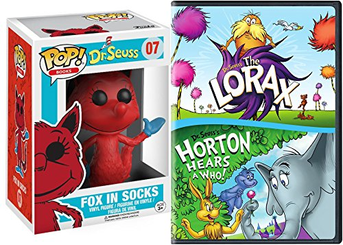 Dr. Seuss 2 Original Classics The Lorax & Horton Hears a Who! + Fox in Socks Toy Figure Cartoon Adventures DVD Double Feature