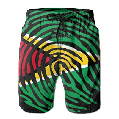 Nasat Guyana Guyanese Pride Flag Fingerprint Country Mens Shorts Loose Summer Swimming Trunks Running Swimming and Surfing