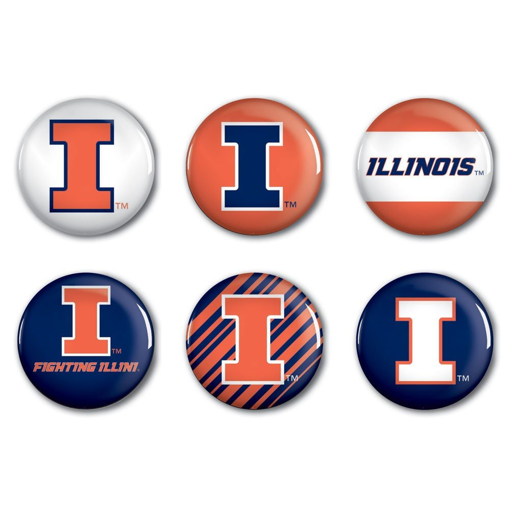 WinCraft NCAA University of Illinois WCR22173014 Round Button 2 6 Pack